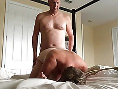 Wife fucked by hubby's friend, he fucks her in all holes